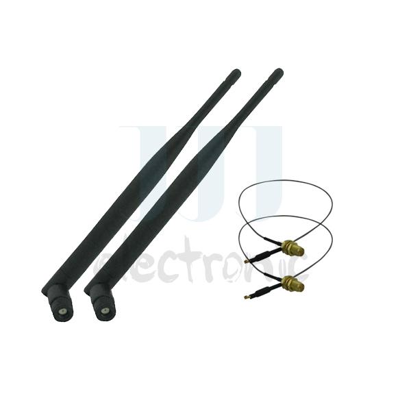 2 6dBi RP-SMA Dual Band WiFi Antennas + 2 U.fl Cables for Mod Kit Netgear WNR3500Lv2(China (Mainland))