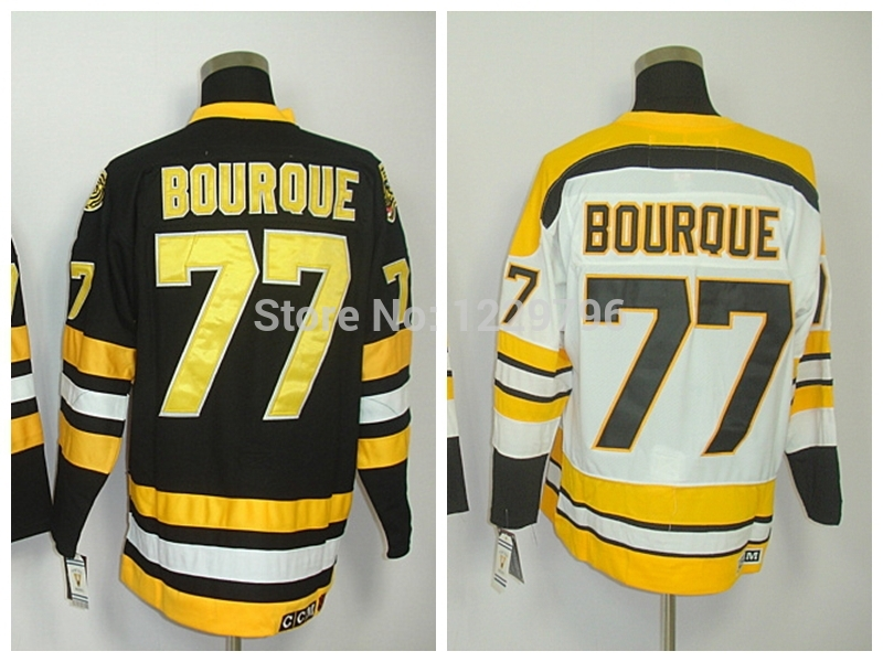 Cheap Men's Throwback Ice Hockey Jerseys Ray Bourque Jersey #77 Vintage Home Black Road Away White CCM Stitched Jerseys C Patch