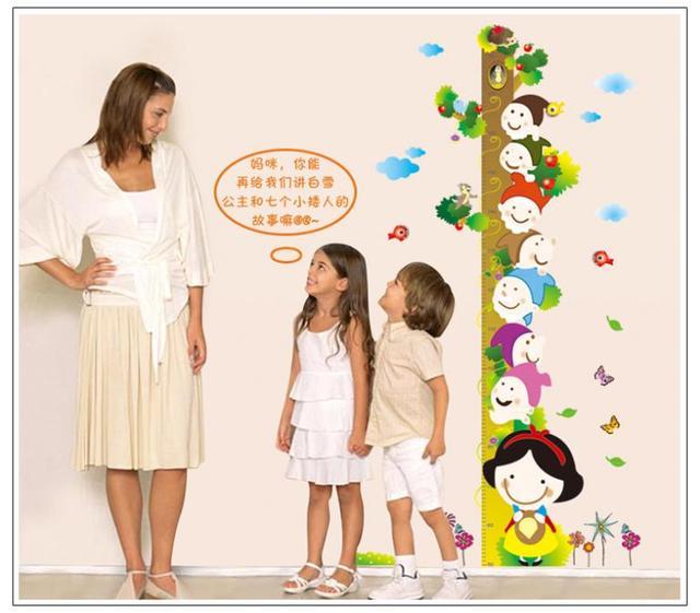 Мультфильм белоснежка принцесса семь гномов птицы дети рост мера съемный пвх стикеры для детей номеров отличительные знаки