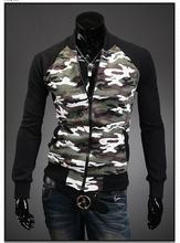 2015 Trade new camouflage jacket collar men trade short paragraph Slim stitching cardigan  mixed colors(China (Mainland))