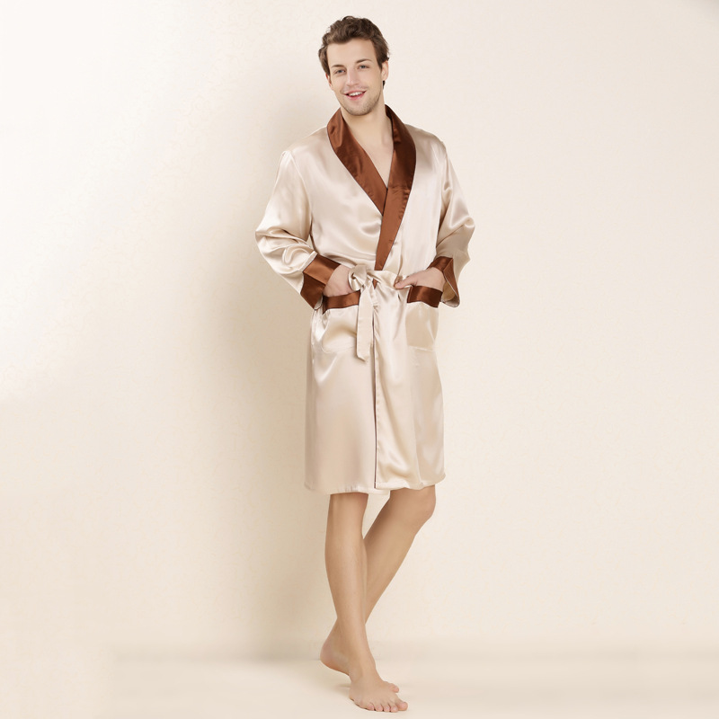 2016 New Design Male Silk Satin Long-Sleeve Kimono Sleepwear 100% Silk High Quality Sexy Men Bathing Robe Dressing Gown 1013(China (Mainland))