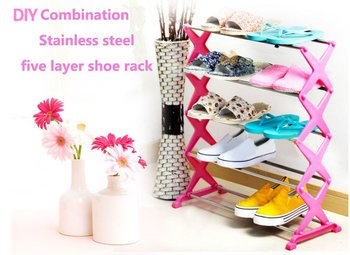 Best selling Wholesale novelty items shoe rack, ABS+stainless steel 5 layer combination, foldable,free shipping 3colors