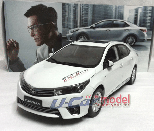 1pcs/ a lot 1:18 TOYOTA COROLLA 2014 Die-cast Model Car (in White color) New Arrival(China (Mainland))