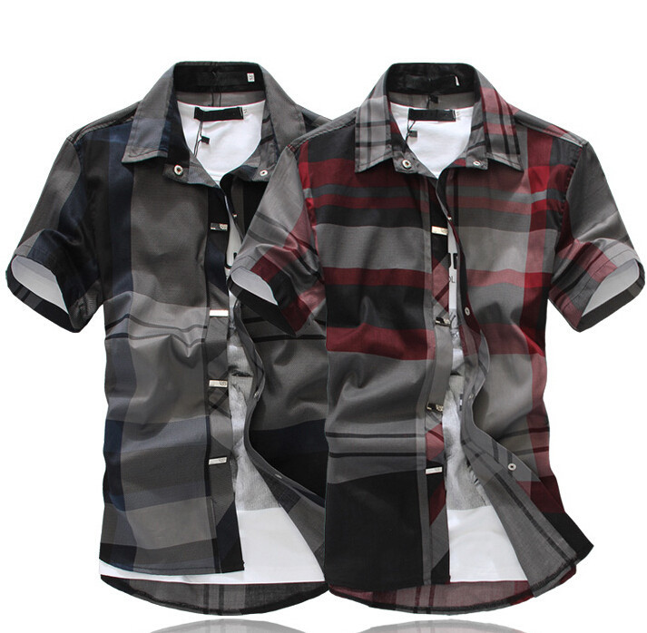 2015 New 6XL Plaid Casual Shirts Single Breasted Solid Color Turn down Collar Men Clothes Men