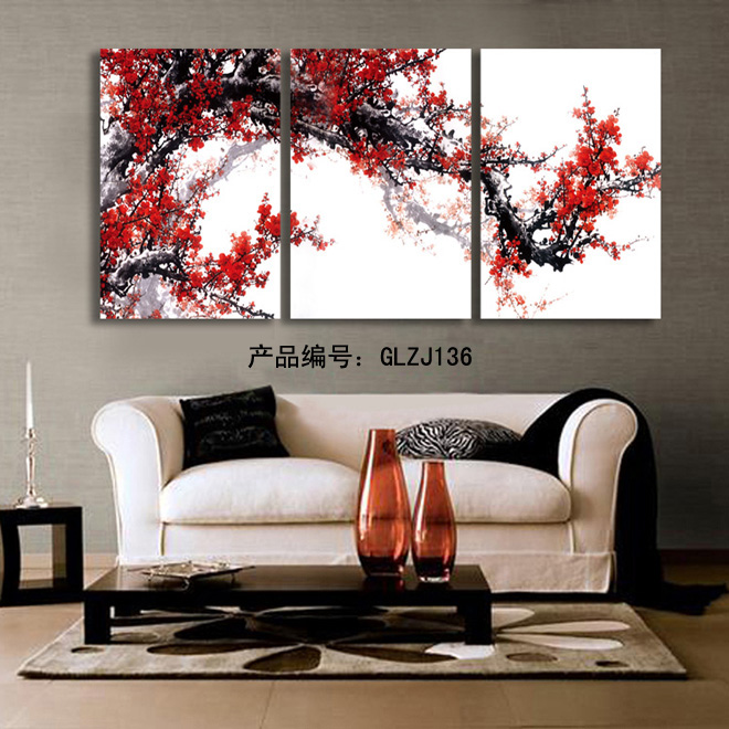3 Panel Wall Art Pictures Red Bloom Painting On Canvas The Picture For Living Room Decoration