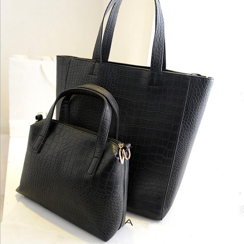2016 Designer Women Leather Handbags Large Black Shoulder Bags Ladies Tote Bag High Quality Bolsa Feminina 2 Bags Set HC0817