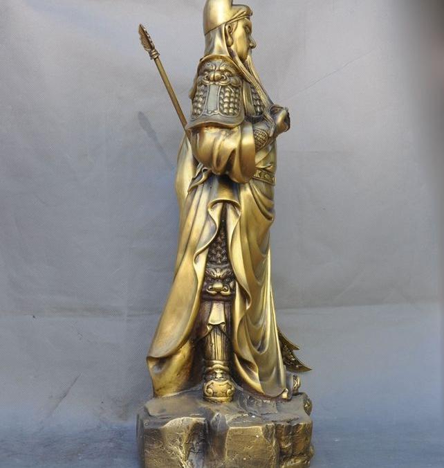 """Buy 23"""" China Brass Ancient Heros Guan yu Dragon Knife Guan gong Generals God Statue cheap"""