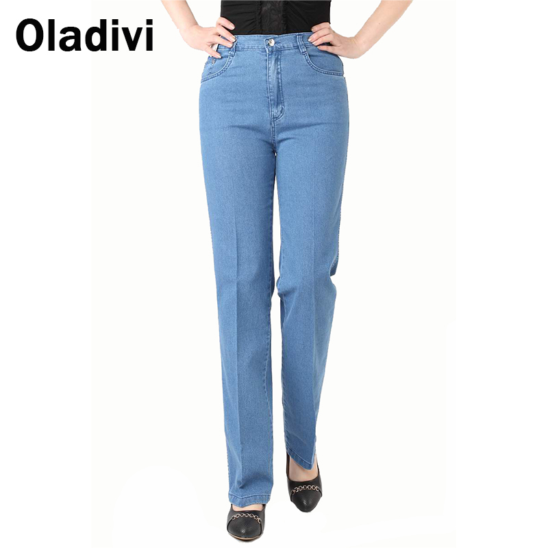 Plus Size 29-42 Women New Fashion 2015 Summer Spring Casual High Waist Denim Pants Ladies'/Women's Jeans Straight Long Trousers(China (Mainland))