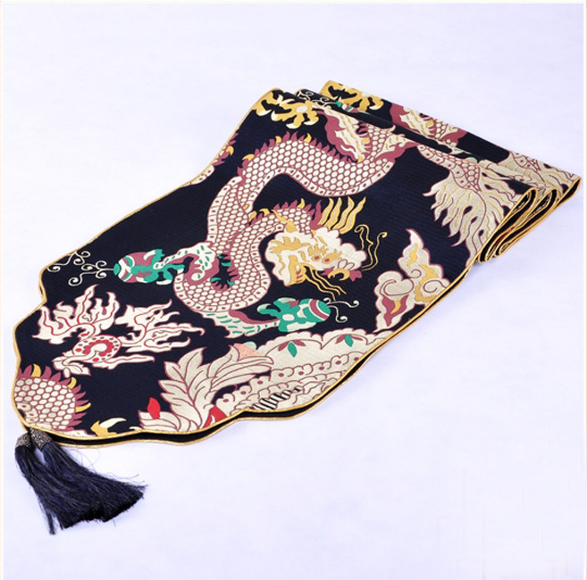 Luxurious New Fashion Chinese Handmade Vintage Embroidered Sequins Black Dragon Silk Table Runner Cloth Bed Flag(China (Mainland))