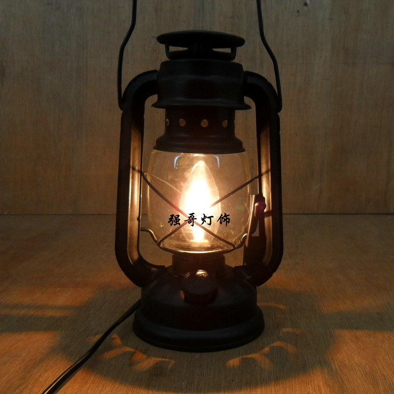 Fashion vintage wrought iron lantern brief rustic bedroom bedside lamp living room lights ...