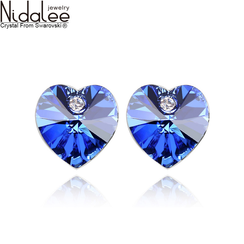 Fashion Heart Crystal earrings for women Swarovski elements crystal dangle earring accessories 10 color jewelry (Nidalee CB019)