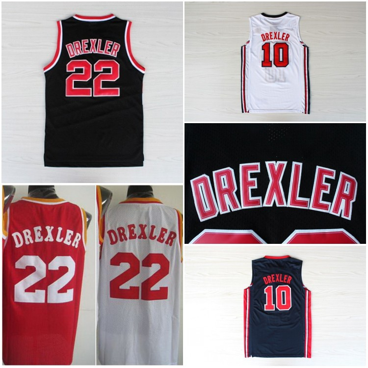 Free Shipping Clyde Drexler Jersey #22 Clyde Drexler Portland Black Embroidery Logo Jersey Basketball Jerseys(China (Mainland))