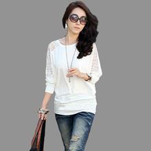 spring 2015 Autumn Women clothing Long Sleeve Blusas femininas O-Neck Batwing Lace Tops Casual Loose Shirts Plus Size WG991(China (Mainland))
