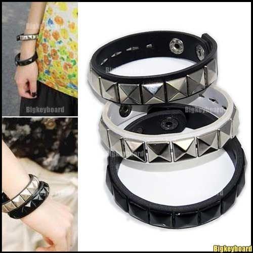 3xNewestFashion Rock Punk Cuff Pyramid Stud Leather Bracelet Wristband 3 Color(China (Mainland))