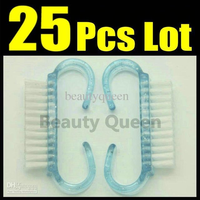 25Pcs Lot Nail Dust Cleaning Clean Brush Plastic Wash Tool Scrubber File Manicure Pedicure * FREE SHIP + GIFT *