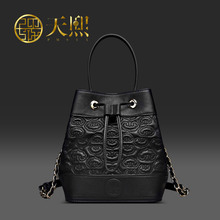 Chinese Style Women Genuine Leather Bags 2016 Luxury Embossed Handbag Black Bucket Bag Sheepskin Shoulder bag 290004
