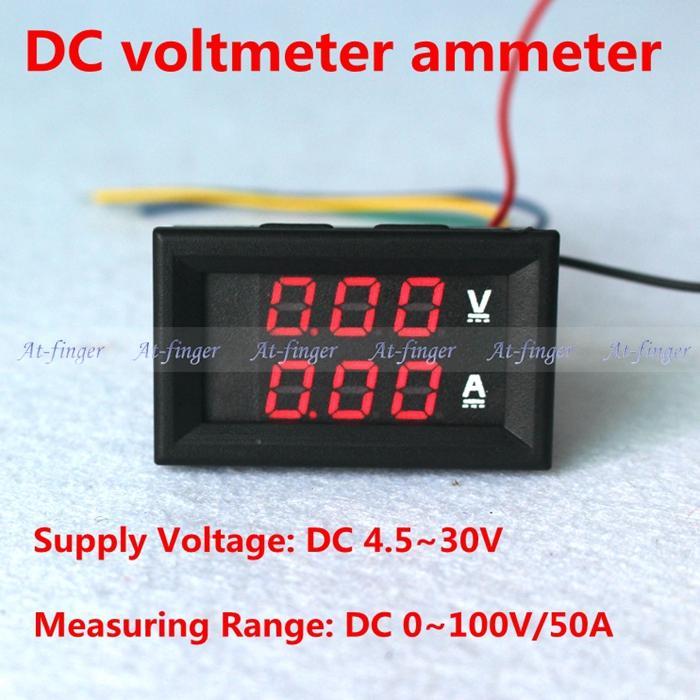 DC voltmeter ammeter for Car Motorcycle red LED Digital DC 0 100V 50A Voltage Current Meter