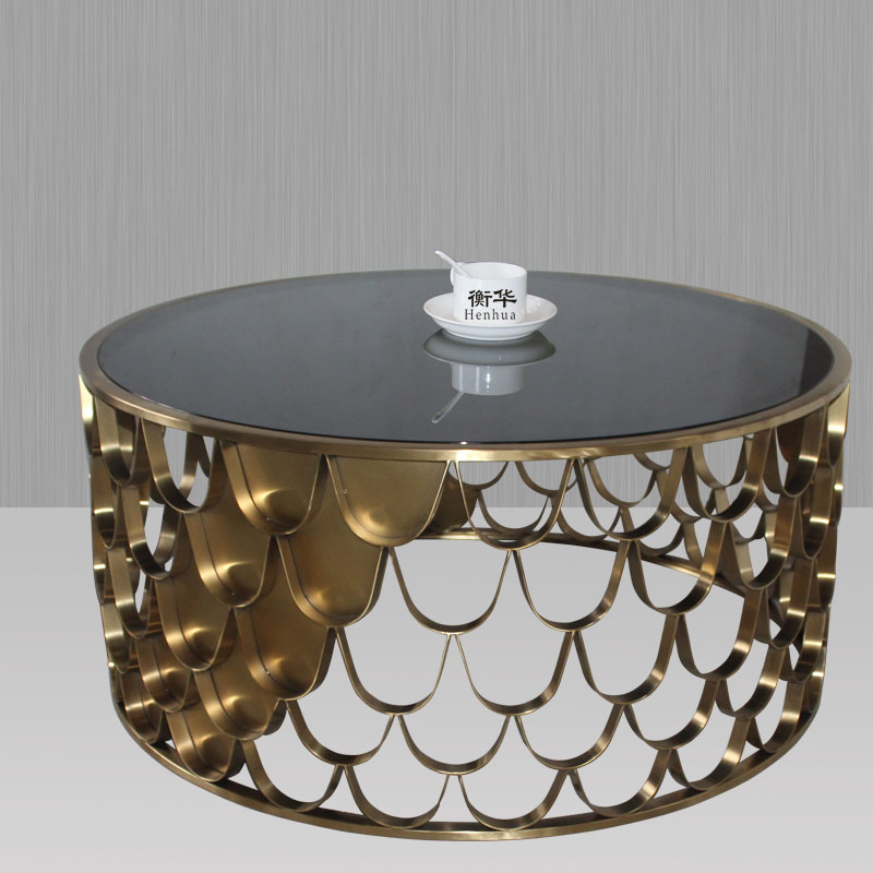 Creative contracted hotel home sitting room furniture, stainless steel wire drawing plating titanium round tea table(China (Mainland))
