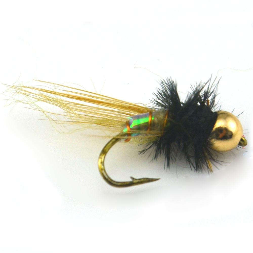 10PCS [ 12# ] Holographic Brass Bead Head Midge Fly Trout Fishing Flies Nymph Lure<br><br>Aliexpress