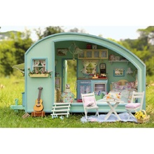 DIY Wooden Dolls house 3D Handcraft Miniature Kit Music box Voice cotroller LED Caravan Model Furnitures
