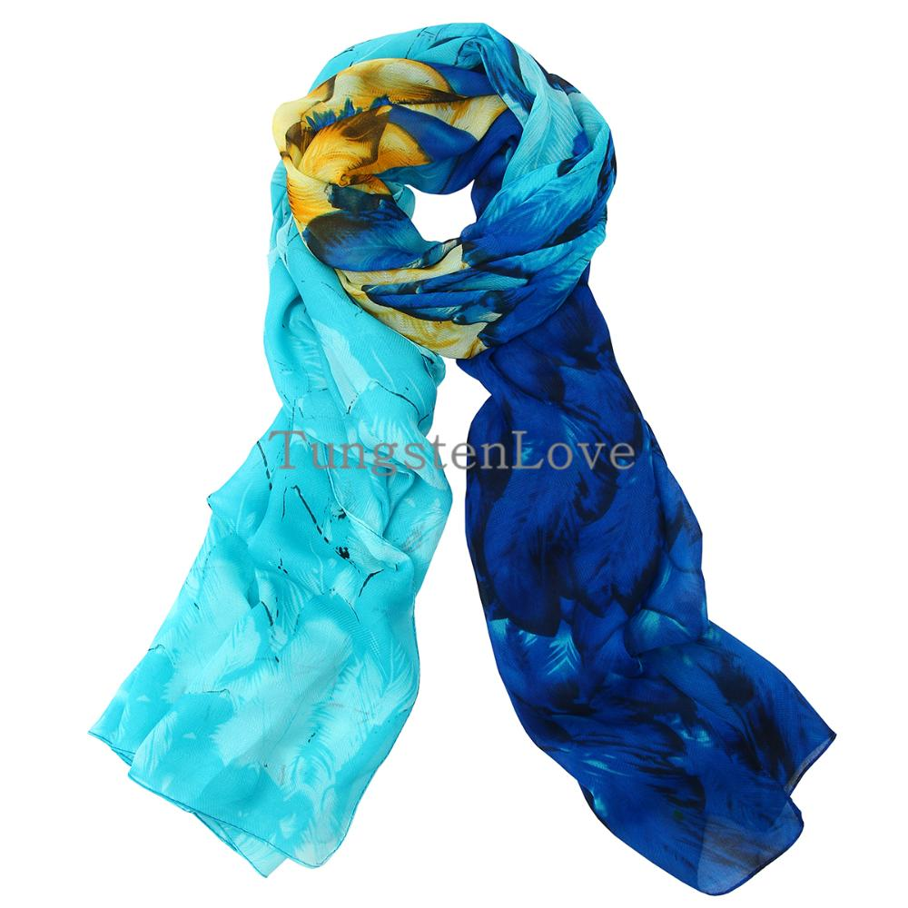 180cm New Lightweight Blue Feather Frill Print Scarf Long Velvet Chiffon Scarf Shawls Pashmina Scarf for Girls Lady Women(China (Mainland))