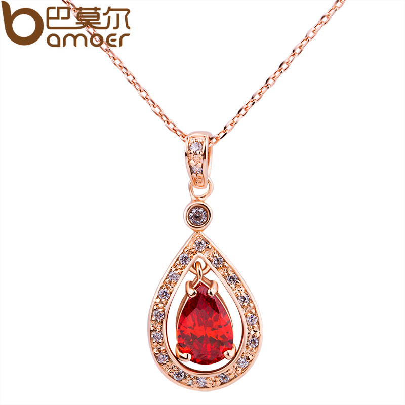 BAMOER Luxury 18K Gold Plated Pendant Necklace with Red Zircon For Women Party Bijouterie JIN011(China (Mainland))