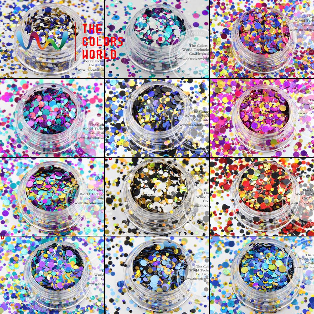 MRT-001 Mix Colors Dot shapes round Glitter for nail art ,nail gel,makeup and DIY decoration(China (Mainland))