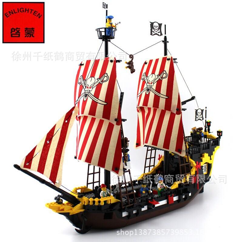 Enlighten 308 Pirates of the Caribbean Black Pearl Make Sail Minifigure 2016 Assemble Building Block Legoelieds Toys