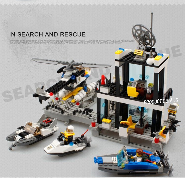 Police Station Building Blocks City Police Station Coastal Guard SWAT Truck Motorcycle Learning Toys