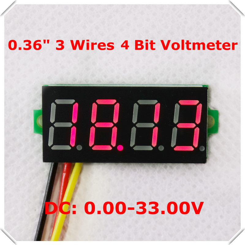 """mini 4 bit 0.36"""" Digital Voltmeter 0-33V Three wires Voltage Panel Meter Display LED Color: Red [ 10 pieces / lot](China (Mainland))"""
