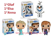 3pcs/lot  FUNKO POP Elsa Anna Olaf doll Vinyl Action Figure PVC 10CM Model toys Boneca Elsa doll Collection With Retail Box