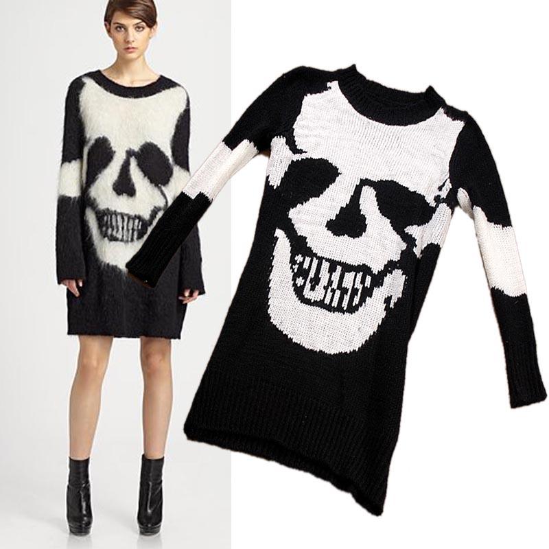 Punk Sweater Pattern Knitted Skull Punk Pattern