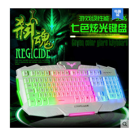 2015Free shipping New Backlit keyboard for CF LOL and so on Cable light-emitting luminescent game keyboard comfortable and cool(China (Mainland))