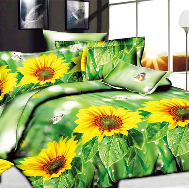4pcs/set Sunflower Butterfly 3D Print Bed Sheet Duvet Cover Sets Bedding Sets Brand New Arrive(China (Mainland))