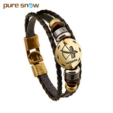 Fashion Bronze Alloy Buckles 12 Zodiac Signs Bracelet Punk Leather Bracelet Wooden Bead + Black Gallstone For Men Charm Jewelry(China (Mainland))