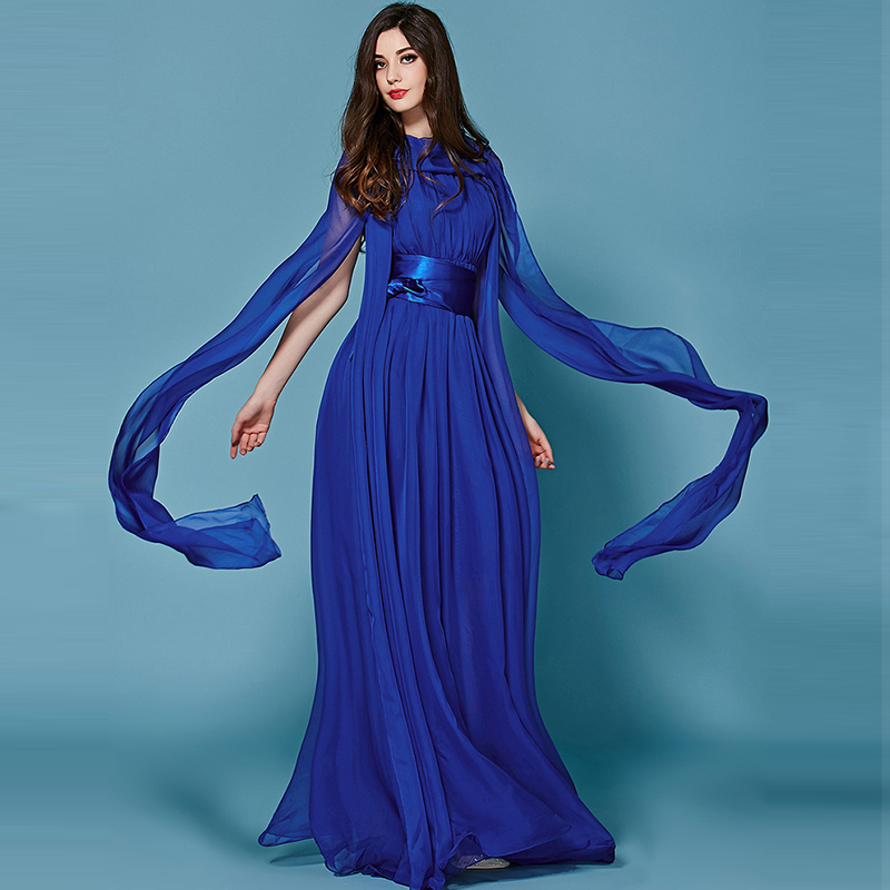 Designer Dress 2016 Spring Fashion Runway Brand Temperament Elegant Ribbon Slim Beautiful Swing Blue Maxi DressОдежда и ак�е��уары<br><br><br>Aliexpress