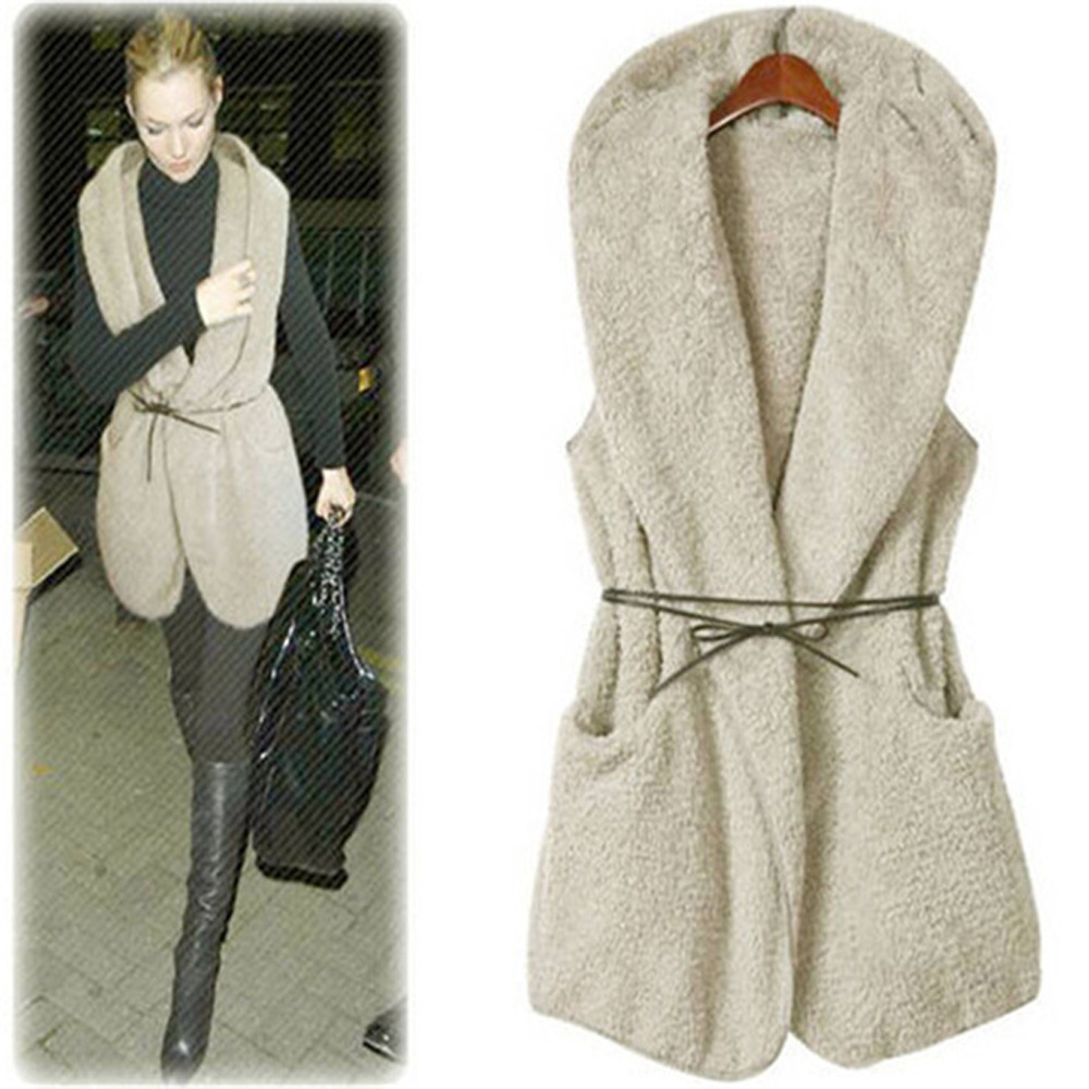 Fashion Coat Female Autumn 2015 Women Vests Casual Faux Fur Warmer Hoodie Sleeveless Long Vest Veste Femme with beltОдежда и ак�е��уары<br><br><br>Aliexpress