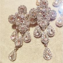high quality fashion brand queen jewelry Portarit crystal cross drop earrings women luxury baroque cross Tassel dangle earring(China (Mainland))
