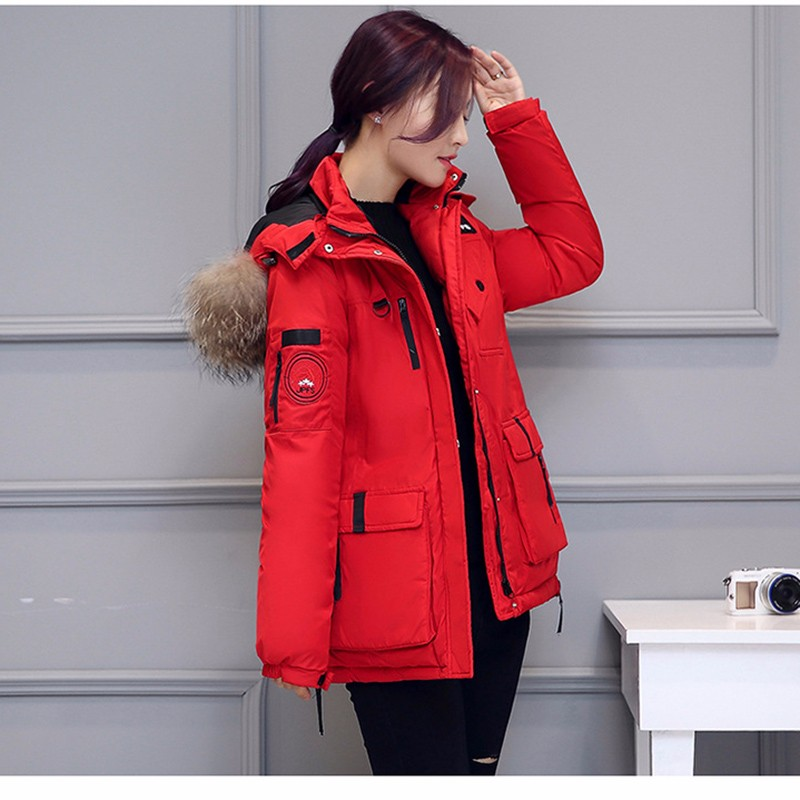 Autumn and winter 2016 European style fashion long big fur collar woman down Cotton Hooded Coat Jacket Size thick winter clothes
