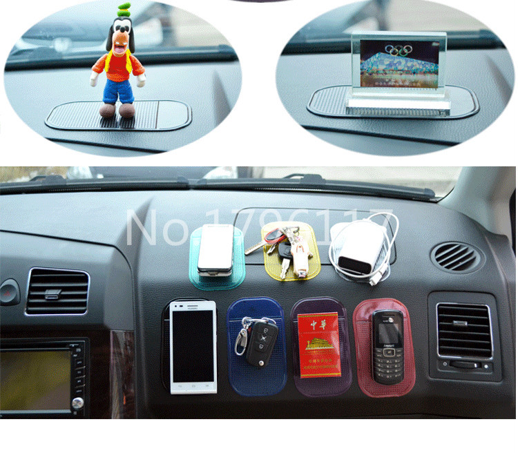 3 pcs/lot magic sticky pad anti slip car dashboard,car silicon mat for PDA mp4 Black or Clear or pink color gift for holiday(China (Mainland))