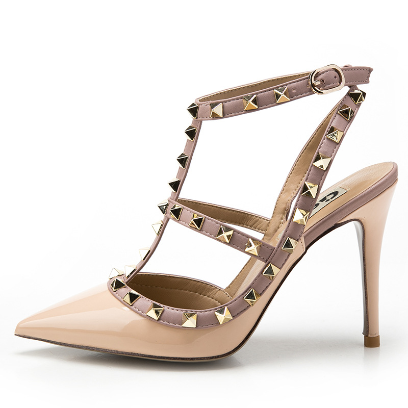 women sandals 2016 shoes woman 2016 Pointed Stiletto High Heels With Slim Strap Sandals zapatos mujer Plus Size wedding pumps(China (Mainland))
