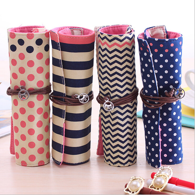 NEW Sweet Dots Roll pencil bag Canvas Portable Pen Case Cosmetic Bag School Kid Pen Case Storage BAG Pouch color choose(China (Mainland))