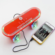 2015 Christmas Gift Skateboard Bluetooth Scooter Speaker Mobile Audio Portable Speakers with Flashing Led Light TF Card Support(China (Mainland))