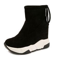 COOTELILI Kadın yarım çizmeler Platformları Ayakkabı Kadın Yüksek Topuklu Içinde Yüksekliği Artan Faux süet Çizmeler Lace up Sneakers 35-39(China)