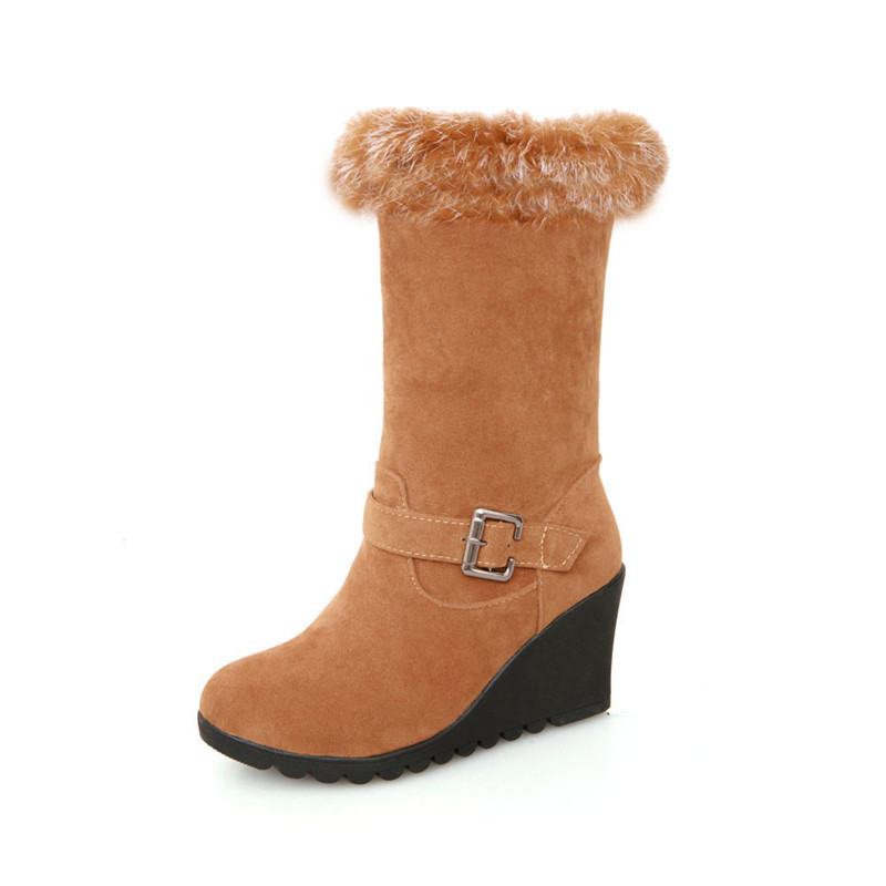 2015 fashoin women boots wedge mid claf eskimo boot buckle round toe autumn winter warm snow. Black Bedroom Furniture Sets. Home Design Ideas