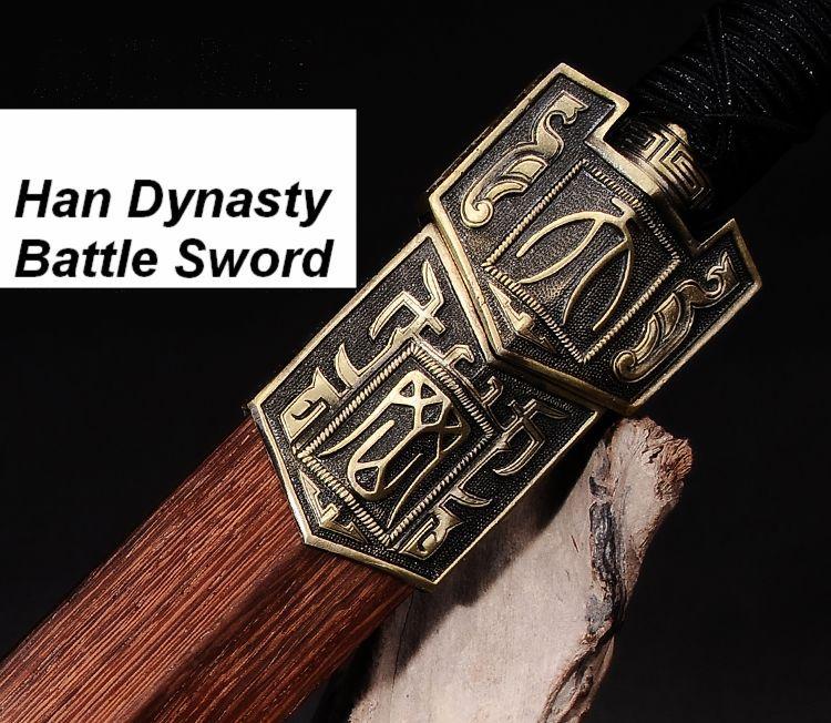 Hand Forge Chinese Sword Han Jian High Manganese Steel Sharp Alloy Fitting(China (Mainland))