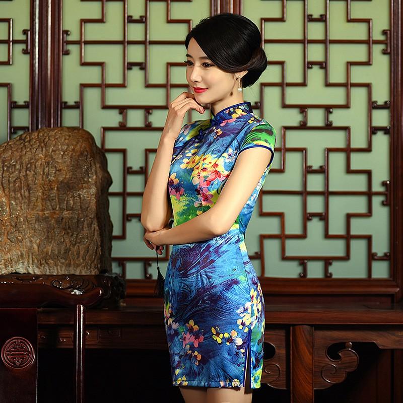 มาใหม่แฟชั่นแผนจีนชุดผู้หญิงผ้าไหมCheongsam QipaoมินิVestidoเดเฟสต้าขนาดSml XL XXL Z20160308 ถูก