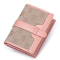 Durable Canvas Genuine Leather Splicing Purse Women Occident Style Bi fold Wallet Retro Simple Ladies Money