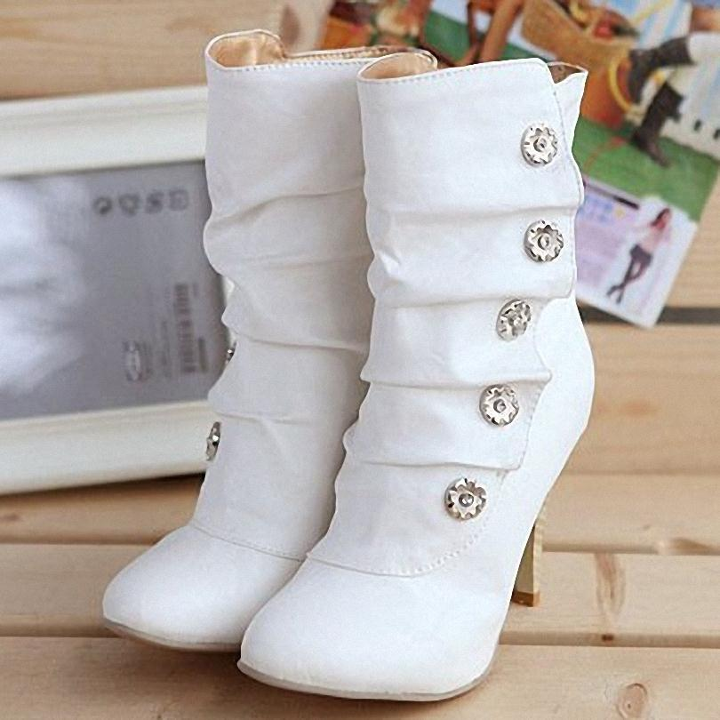ON sale Free shipping 2013 winther New Sexy style high heel PU Mid Calf boots