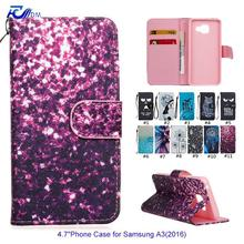 FDM New 11 Kinds Colorful Painetd PU Leather Phone Case for Samsung A3(2016) Stand Wallet Flip Case Magnet Closure Card Holder